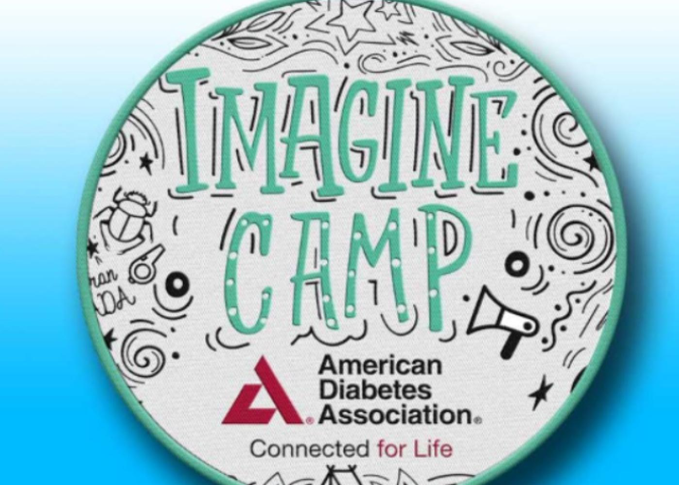 Coaster with Imagine Camp in green surrounded by black doodles