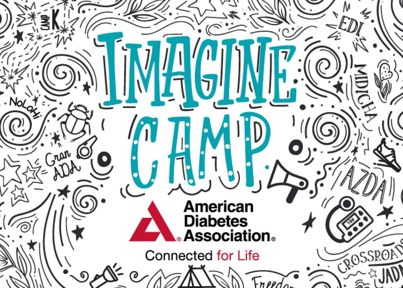 Imagine Camp written in green surrounded by black and white doodles on white card